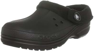 crocs Unisex Blitzen Polar Fleece Clog,Black/Black,Men's 4 M/Women's 6 M