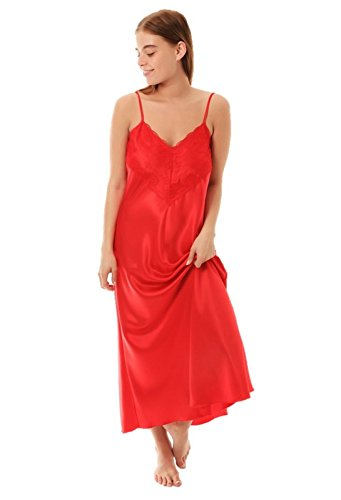 Ladies Satin Nightdress Style N50 Red Size 14-16