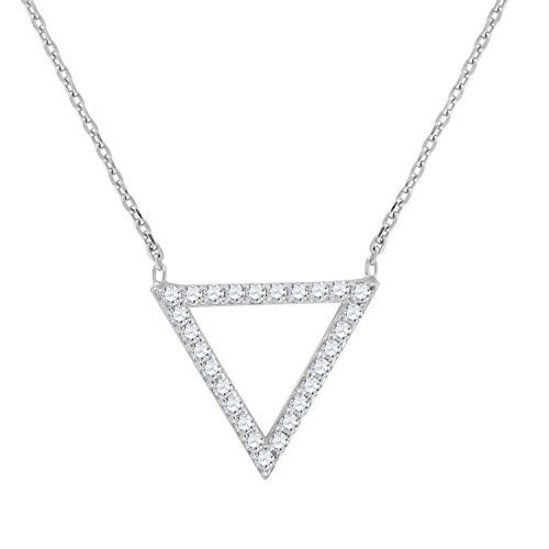 Jewels By Lux Sterling Silver Womens Round Cubic Zirconia CZ Triangle Shape Pendant Fashion Necklace Set With The Highest Quality Cubic Zirconia.