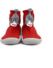 """Babies booties shoe with silicone sole size 20 """"Whale"""" -red"""