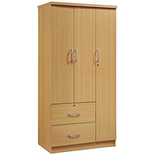 Pemberly Row 3 Door Armoire with 2 Drawer in Beech by Pemberly Row