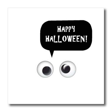 3dRose InspirationzStore - Occasions - Happy Halloween - Cute White Spooky Cartoon Ghost Eyes Talking Object - 8x8 Iron on Heat Transfer for White Material -