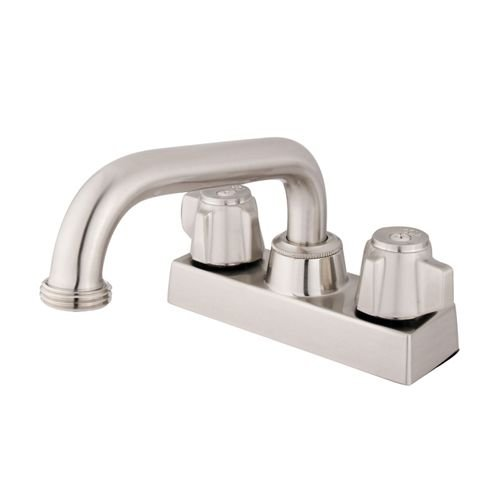 Kingston Brass KB471SN Traditional 4'' Laundry Tray Faucet with 6'' Spout & Hose Thread Adaptor, Satin Nickel by Kingston Brass