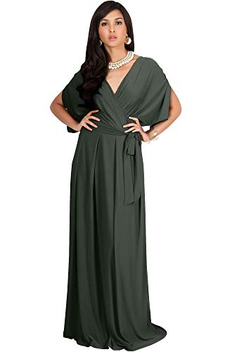 KOH KOH Womens Long Formal Short Sleeve Cocktail Flowy V-Neck Casual Bridesmaid Wedding Party Guest Evening Cute Maternity Work Gown Gowns Maxi Dress Dresses, Olive Green L 12-14