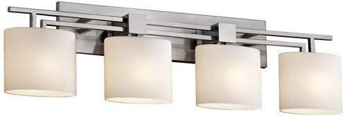 Justice Design Group Fusion 4-Light Bath Bar – Brushed Nickel Finish with Opal Artisan Glass Shade