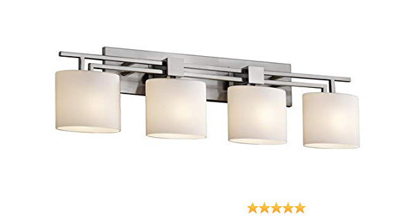Justice Design Group Fusion 4 Light Bath Bar Brushed Nickel Finish With Opal Artisan Glass Shade Home Improvement