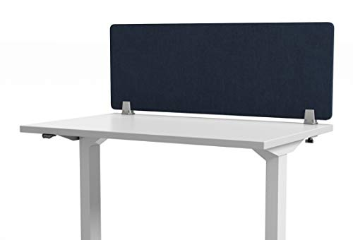 VaRoom Acoustic Desktop Privacy Divider, 48W x 18H Sound Absorbing Clamp-on Cubicle Desk Divider Partition Panel in Dark Blue Tackable Fabric