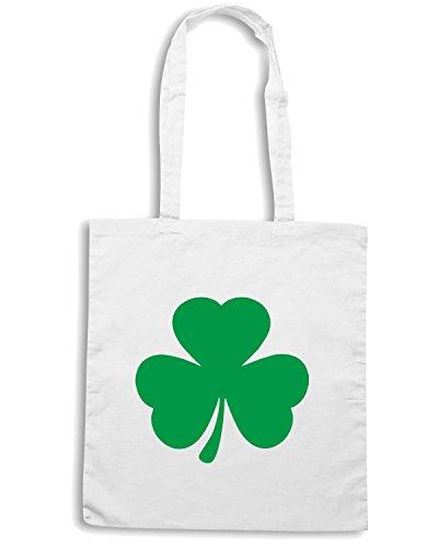 T-Shirtshock - Bolsa para la compra TIR0061 green shamrock irish dark tshirt Blanco