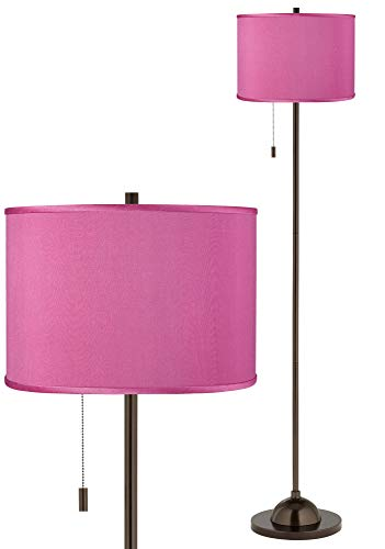 Pink Orchid Faux Silk Bronze Club Floor Lamp - Possini Euro Design ()