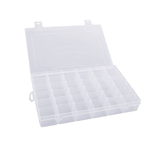 Gospire 36 Grids Clear Plastic Jewelry Box Organizer Storage Container with Removable Dividers Small Item Storage