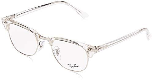 Ray-Ban RX5154 Clubmaster Square Eyeglass Frames, White Transparent/Demo Lens, 49 mm