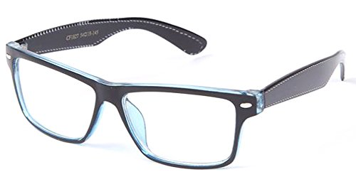 Unisex Clear Frames Squared Design Comfortable Stlyish for Women and Men Black/Blue