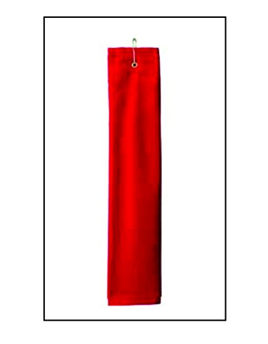 Deluxe Woven Golf Towel - Red Golf Towel Plus by anvil Deluxe Tri-Fold Hemmed Hand Towel with Center Grommet and Hook