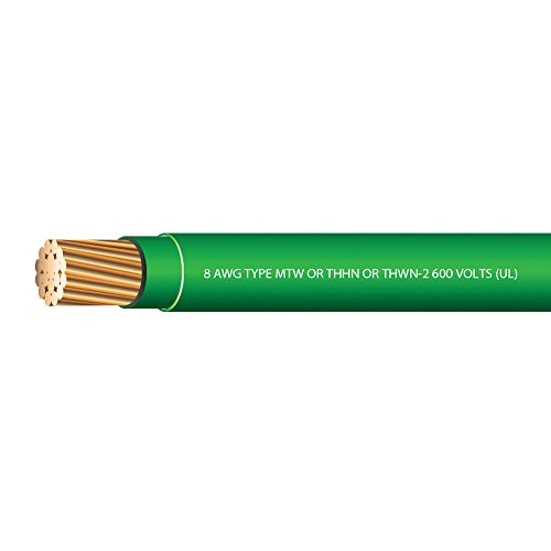 8 AWG Stranded THHN Green Wire - 100 FEET - 600 Volt 90C