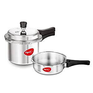 Pigeon by Stovekraft Mini Combi Aluminium Pressure Cooker Set, 2 and 3 Litres with common lid (12610)
