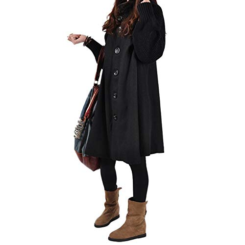 Warming Manteau Hifuture Trench Laine Noir Vrac Woman coat En Winter Chaud Tricoté Coat BwC4Sq