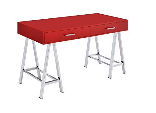 ACME Furniture Acme 92228 Coleen Desk, Red & Chrome, One Size by Acme Furniture