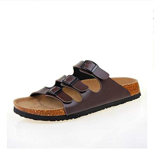 Flat Footbed Womens YaMiFan Toe Strap Buckle Cork Slides Open Sandal 14 Three Sandals 6HzxExwq