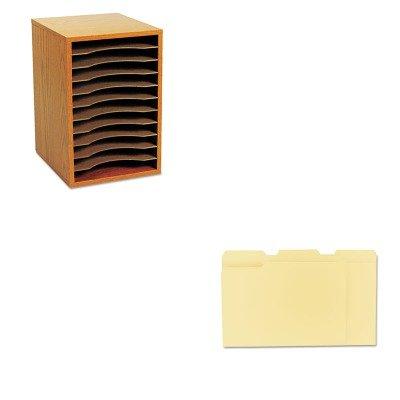 KITSAF9419MOUNV12113 - Value Kit - Safco Wood Vertical Desktop Sorter (SAF9419MO) and Universal File Folders (UNV12113) by Safco