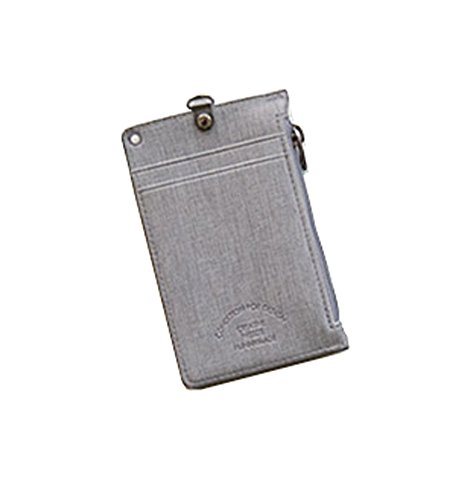Unisex Zipper Pocket Credit Card Case Purse Wallet with Lanyard Neck Strap (Light Gray) ()
