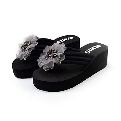 Élégant Femme Floral Femmes Mousse Pantoufles Été Satin À Plage Sandales Tongs Chaussures Talons Fleur De Gris Compensées 8Sdq8