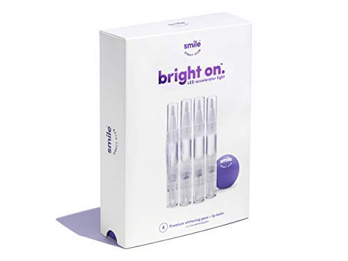 - bright onTM Teeth Whitening - 4 Premium Hydrogen Peroxide Whitening Pens with Vanilla Lip Balm, Brighten 3x Faster Than Strips - 6 Month Supply, Mint