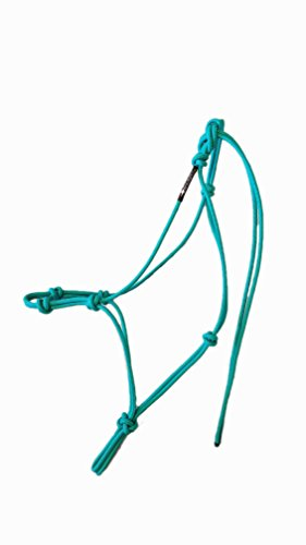 "Horse Rope Training Halter - 4 Knot from 1/4"" Stiff Polyester Halter Cord - Size Rope Most Trainers Use! (Turquoise, Standard)"