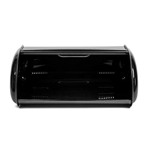THRICH Deluxe Steel Modern Bread Box Storage with Roll up Lid, Clear Visual Window, Bright Black, 755oz (22L) by THRICH (Image #4)