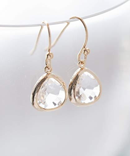 Drop Clear Glass Earrings - Clear Crystal Glass Drop Earrings