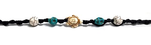 Bracelet or Anklet Sea Turtle in Cream Hemp Bracelet Hawaiian Skull Beaded For Mens womens Teens