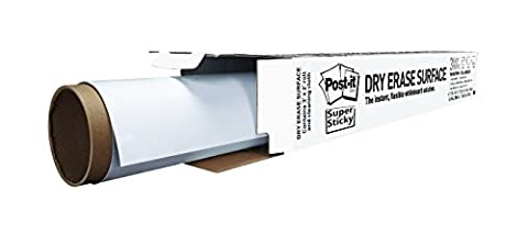 Post-It Dry Erase Whiteboard Film Surface for Walls, Doors, Tables, Chalkboards, Whiteboards, and More, Removable, Super Sticky, Stain-Proof, Easy Installation, 3 ft x 2 ft Roll (Chalkboard 2 X 3)