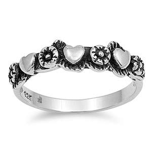 Cute Jewelry Gift for Women in Gift Box Glitzs Jewels 925 Sterling Silver Ring Hearts /& Flowers