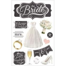 Love Birds Cardstock Stickers (Paper House Productions STDM-0254E 3D Cardstock Stickers, The Bride (3-Pack))