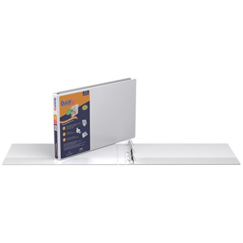 QuickFit Heavy Duty 11 x 17 Inch Spreadsheet View Binder, 1 Inch, Locking Angle D Ring, White (94010)