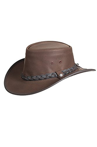 (Overland Sheepskin Co Traveler Crushable Leather Outback Hat)