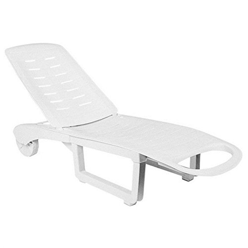 Atlin Designs Pool Chaise Lounge in White, Commercial Grade (Set of 2) (Chairs Pool Plastic)