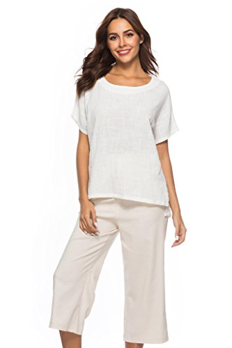 Prior Jms Women's Linen T-Shirt Blouse Casual Loose Short Sleeve Tops Cotton Linen Round Collar Shirs Tunic ()