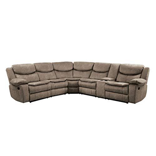 "Homelegance 118"" Manual Reclining Sectional Sofa, Brown"