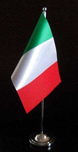 Italia Bandiera Da Tavolo satinato con asta e base