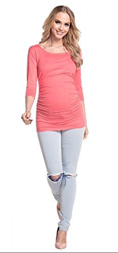 Happy Mama. De Las Mujeres Maternidad Jersey Tramo Superior Camiseta Túnica 3/4Mangas. 338P Coral