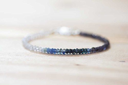 JP_Beads Rainbow Moonstone, Iolite & Sapphire Bracelet, Delicate Shaded Blue Sapphire Jewelry, Sterling Silver Rose Gold Fill Moonstone Bracelet 3-3.5mm 7 inches ()