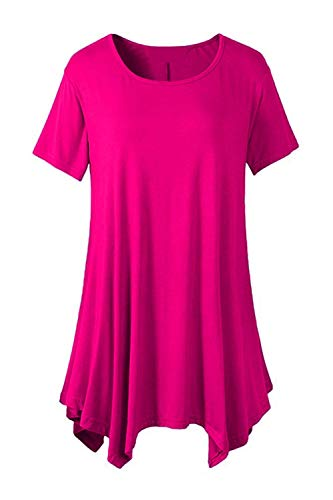 Et Mode Branch Spcial Moderne Courtes Tee Top Manche Col Shirt Rose Irrgulier Uni Casual Style Style Femme Tshirt Tops Bouffant Manches Rond Elgante gwqOE0HxO