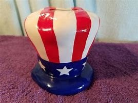 COLLECTIBLE UNCLE SAM'S PATRIOTIC 4TH OF JULY HAT COIN BANK