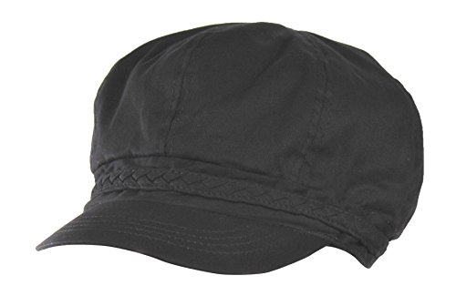Black Spring & Summer Cotton Cabbie Hat w/Braided Band – newsboy IVY Cap
