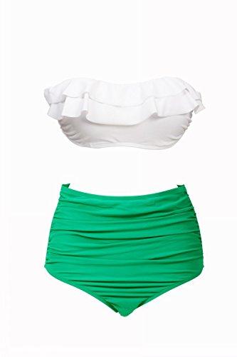 GoLove Women's Double Falbala Bikini Top High Waist Bottom