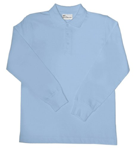 Classroom Uniforms 58732 Youth's LS Interlock Polo Light Blue Small by Classroom Uniforms (Image #1)