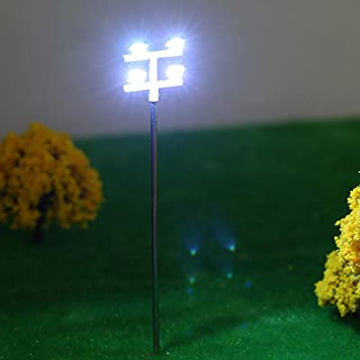 CCGTOY 5pcs Model Street Lights Layout Lamppost Railway Train Garden Playground Scenery Led Lamp Lighting 1:100 Scale 115mm: Electronics