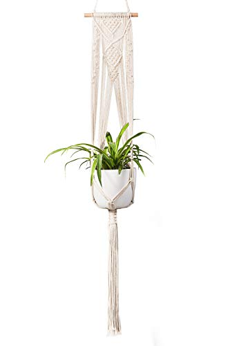 TIMEYARD Macrame Plant Hanger - Handmade Indoor Wall Hanging Planter Plant Holder, Modern Boho Home Patio Garden Decor