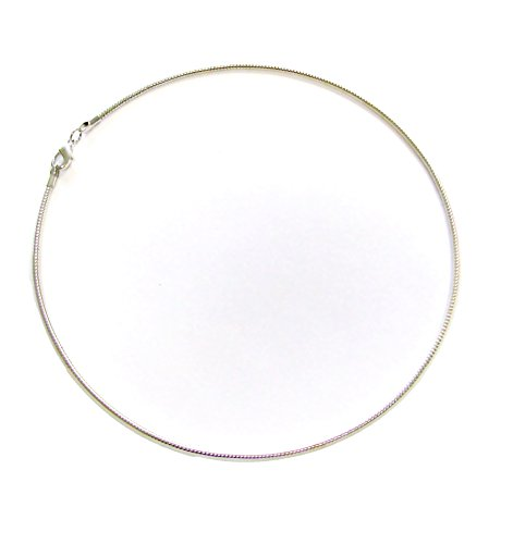 """Linpeng Classic Omega Silver Collar, L. 17"""" Wire Choker Necklace, Dia 5"""","""