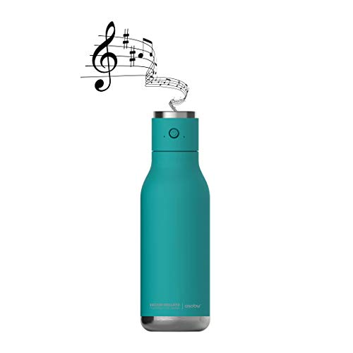 Asobu Wireless Speaker Double Wall Insulated Stainless Steel Water Bottle 17 Ounce (Teal)